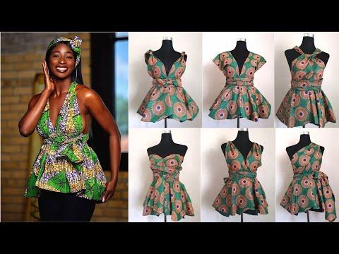DIY How To Sew Infinity Peplum Top/Blouse 2010 African Print-Ankara