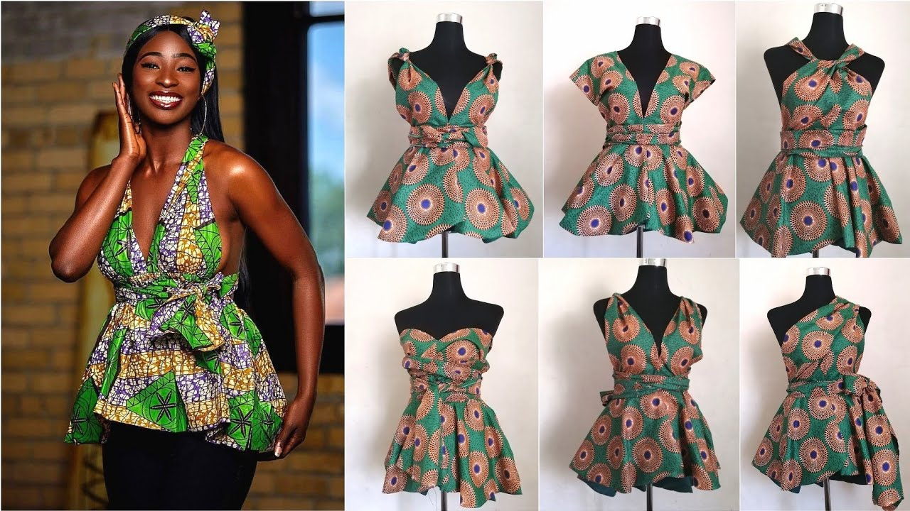 DIY How to Sew Infinity peplum Top/Blouse 2010 African Print-Ankara