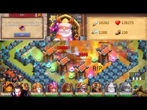 Double Evolving Wargod Santa Boom INSANE Damage RIP Heroes Castle Clash