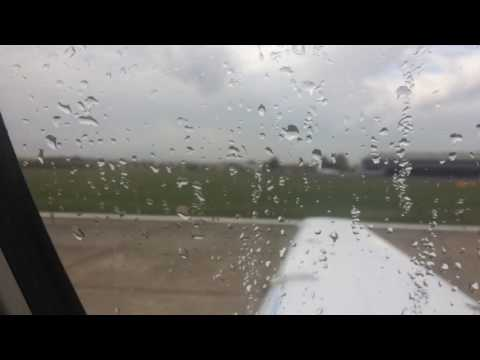 Taking off from Farnborough Airport in a private Cessna Citation XLS Plus jet.