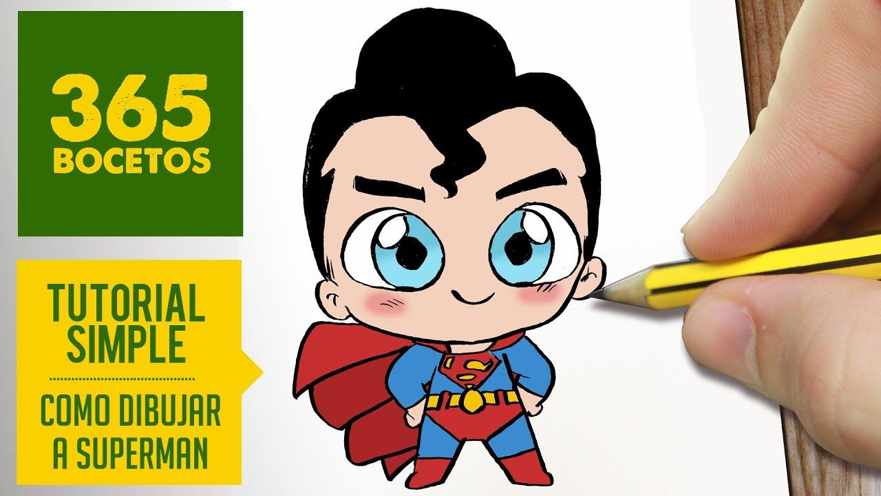 COMO DIBUJAR SUPERMAN KAWAII PASO A PASO  Kawaii facil  How to