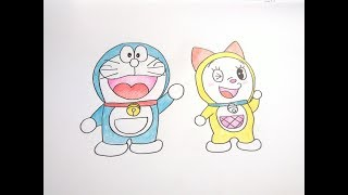 วาดรูป โดเรม่อน โดราเอมอน โดเรมี How To Draw Doraemon Dorami Cartoon Easy for Kids Coloring Pages