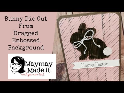 Bunny Die Cut Card using Wood Look Background