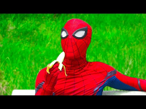 SPIDER-MAN Banana Morning Routines | He Sleep On Field (No Way Home)