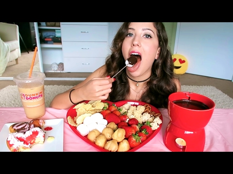 Dunkin Donuts and Chocolate Fondue MUKBANG! (Eating Show)