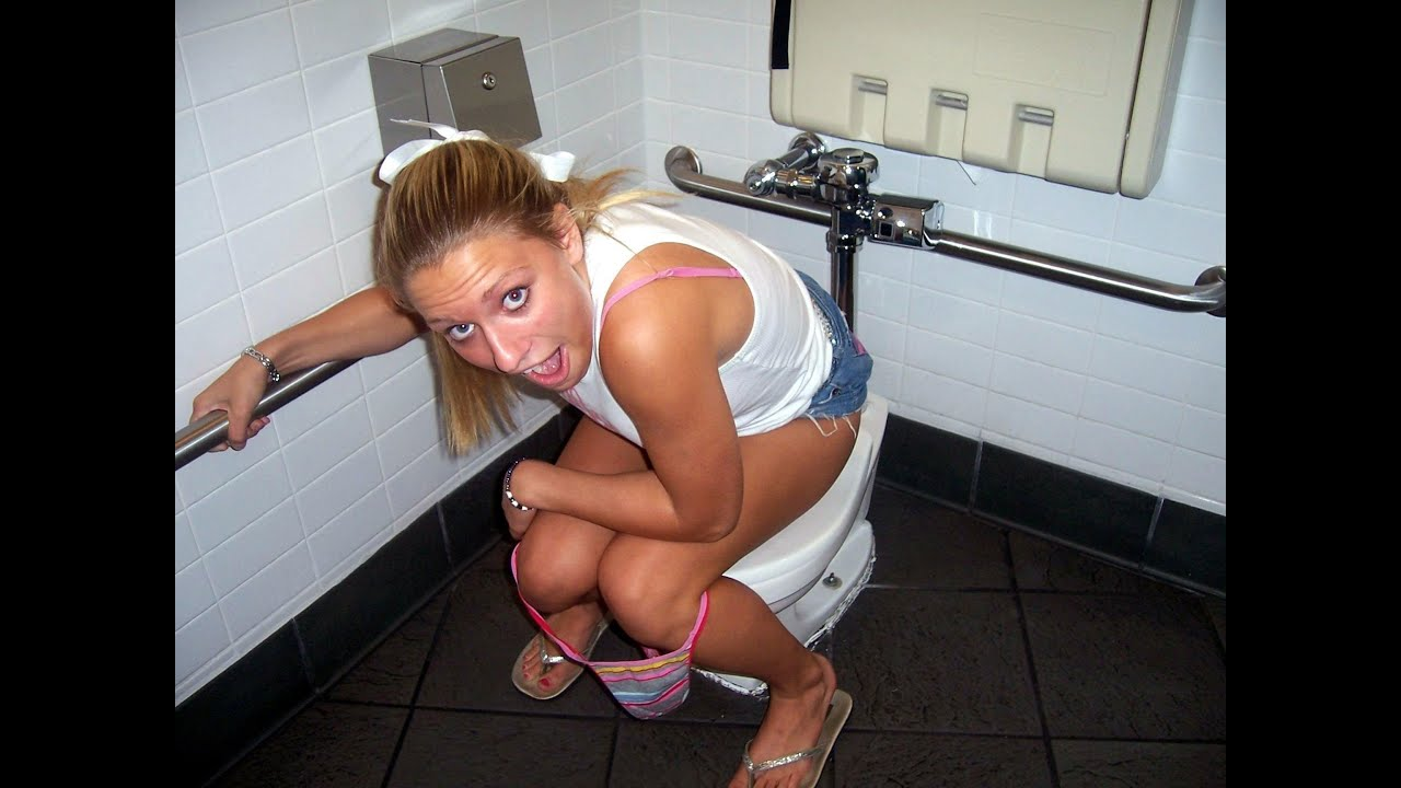 Pissing panties down on toilet girls