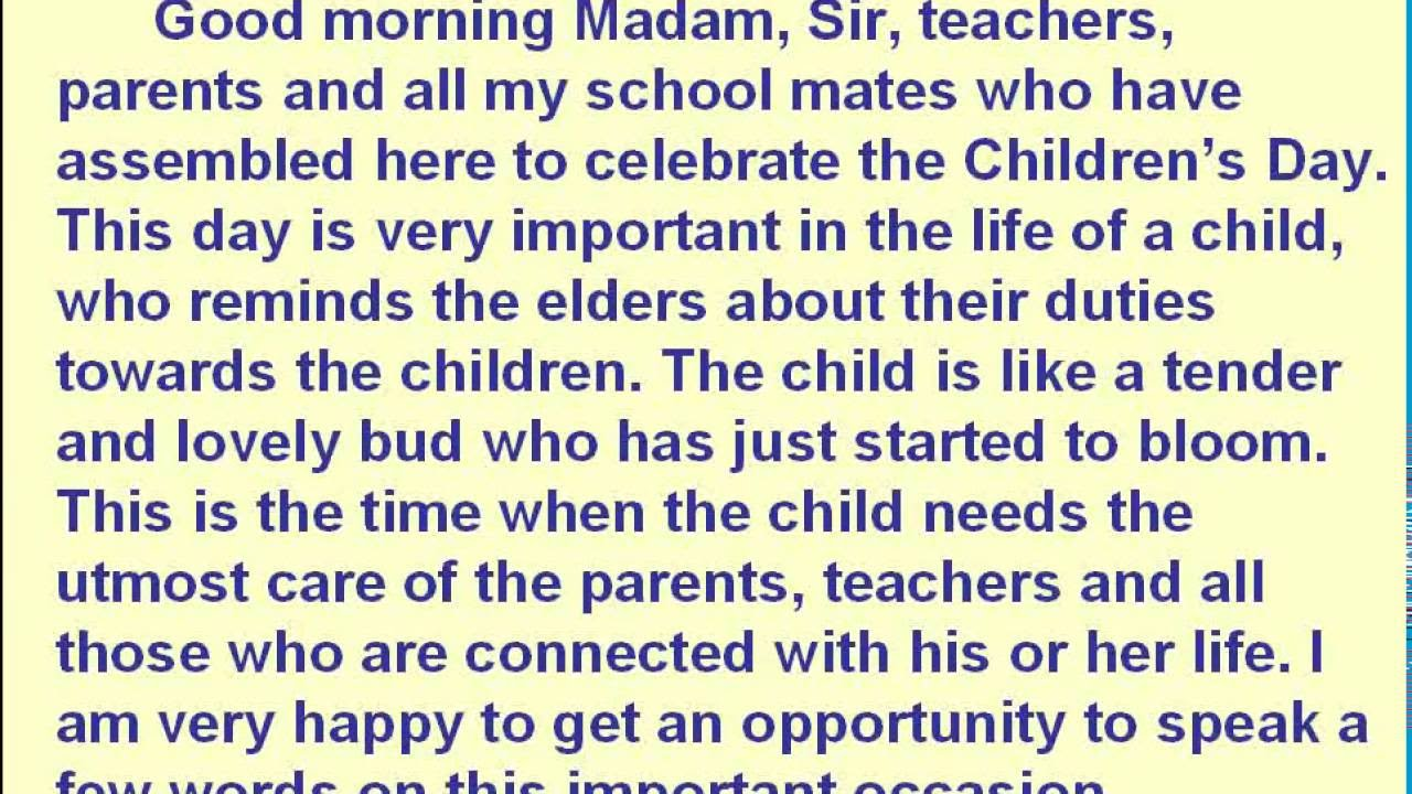 Childrens Day  Speech  Youtube Childrens Day  Speech