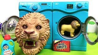 Learn Animals Names For Kids! Surprise Animal Fun Video - Washer Drying Toys -Transformer Tiger Lion