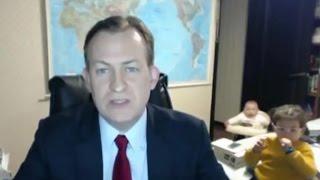 Two children crash dad's live interview on BBC