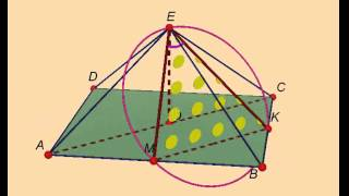 Правильная четырёхугольная пирамида, апофемы  Найдите объём