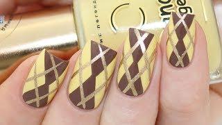 Easy Argyle Pattern For Fall Nail Art Tutorial