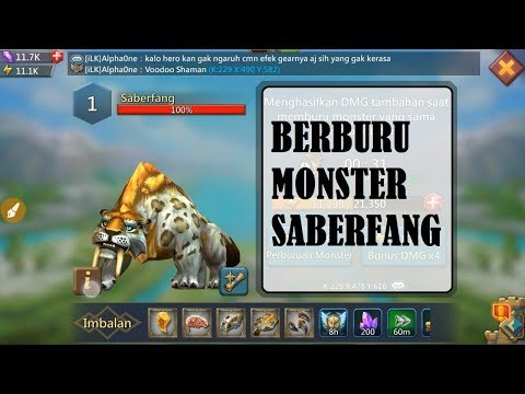 LORDS MOBILE - KOMBINASI HERO PERBURUAN MONSTER SABERFANG