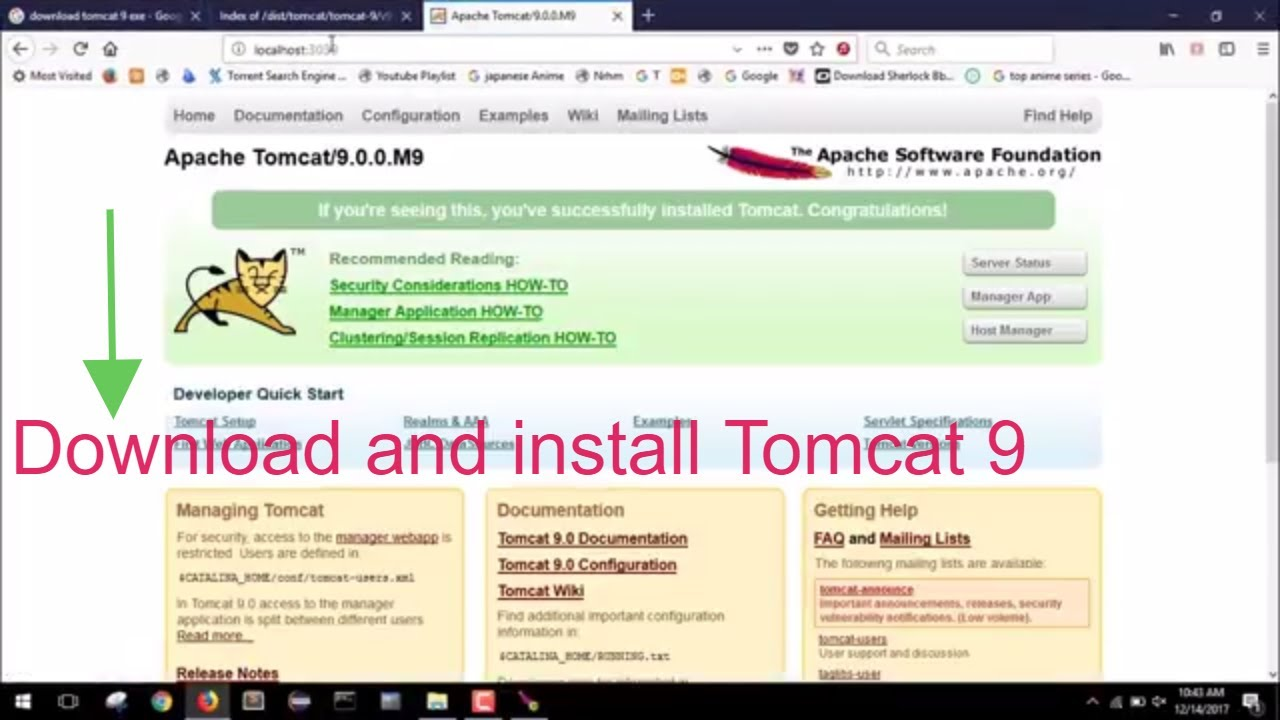 How to download and install Tomcat 9 on windows