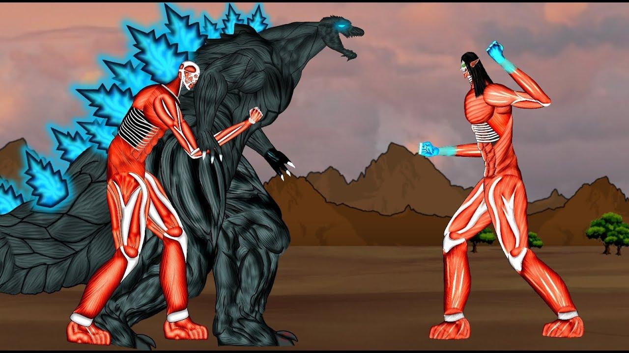 eren titan vs godzilla Eren Founding titan colossal, armin titan vs Godzilla Earth . AOT Animation  . Drawing cartoon 2