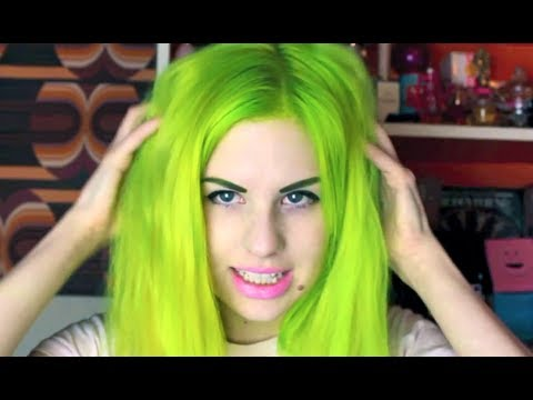 lime green hair transformation
