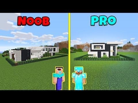 Minecraft NOOB vs PRO: MODERN BEACH HOUSE BUILD CHALLENGE in Minecraft Animation