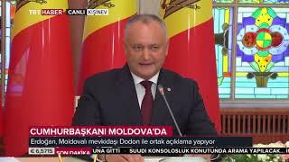 ERDOĞAN MOLDOVA CUMHURBAŞKANI İLE BASIN TOPLANTISI YAPIYOR