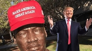 Donald Trump Hat On Martin Luther King Jr Statue @Hodgetwins