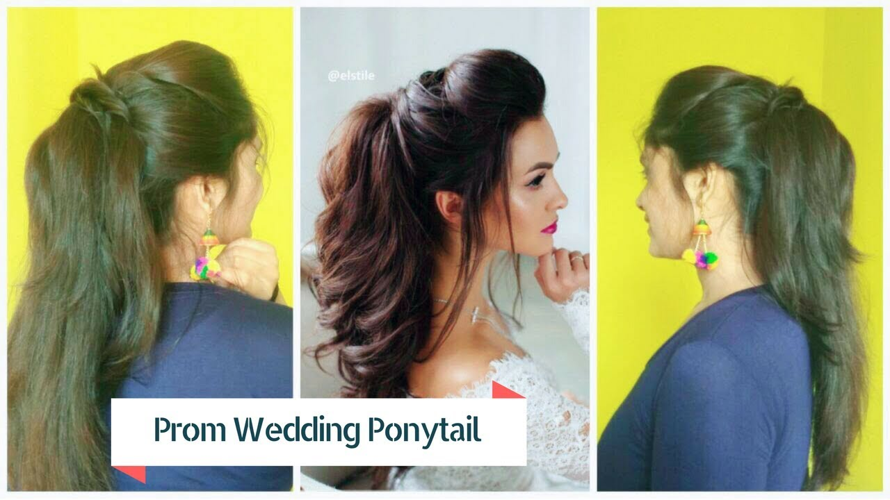 Easy Prom Ponytail Hairstyle For Bride Fancy Wedding Half Up Down Hair Tutorial Youtube