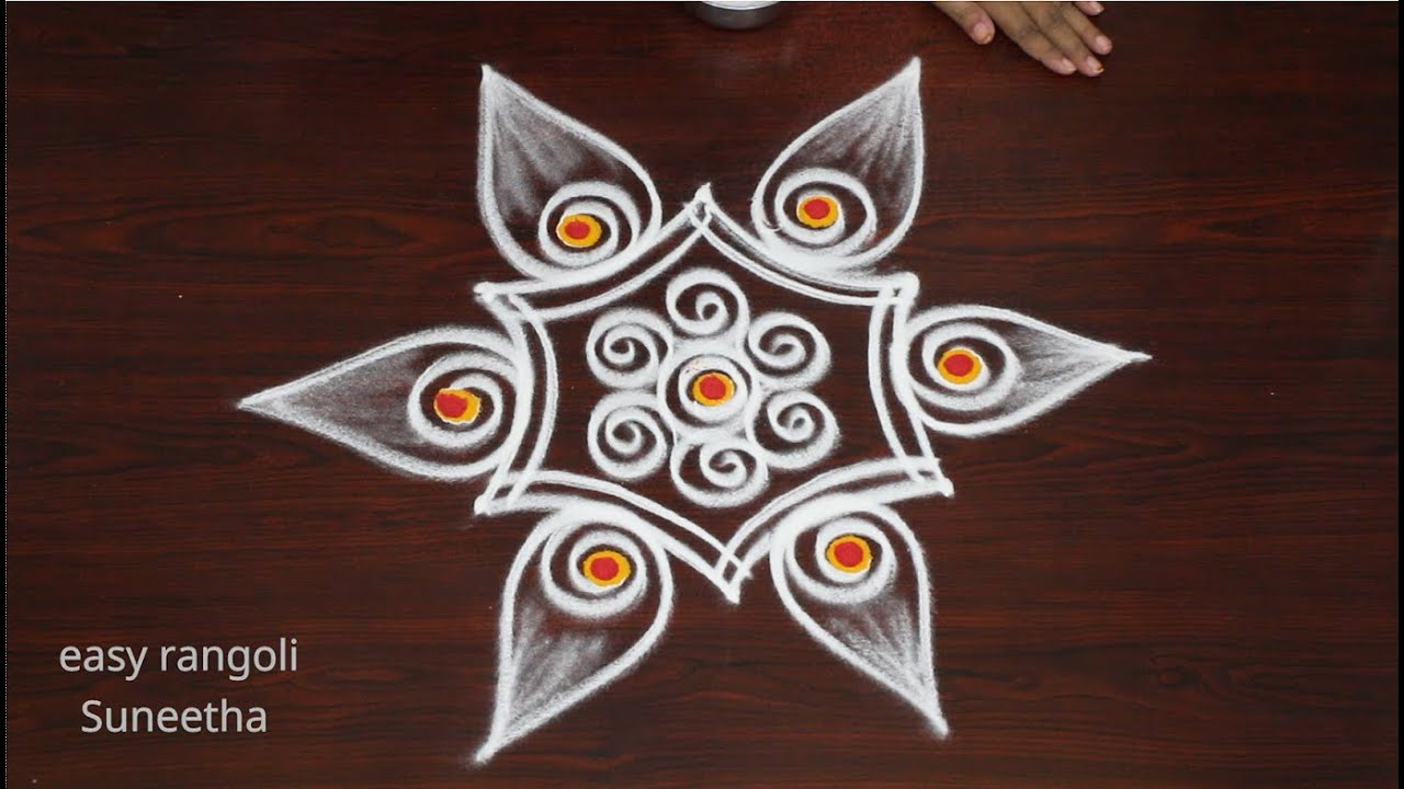 Traditional rangoli & kolam designs by Suneetha || Small muggulu with 3 dots