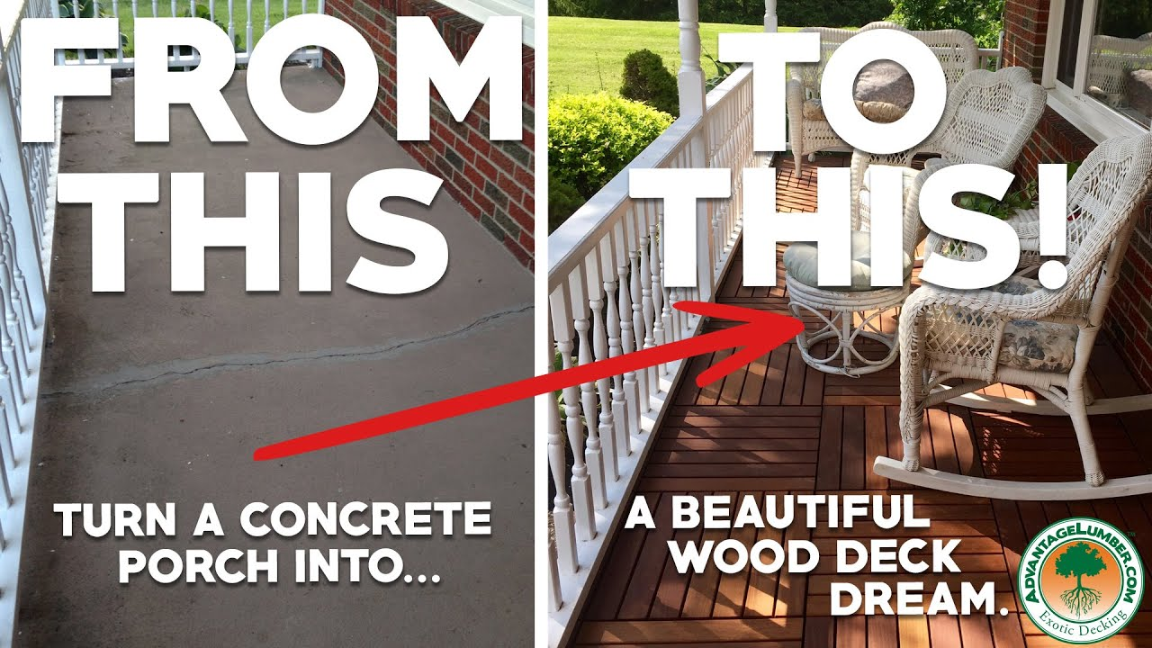 wood over concrete front porch refresh the look of your porch using deck tiles