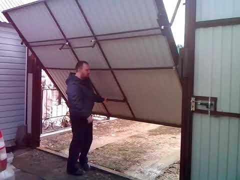 Подъемные складные ворота в гараж 165