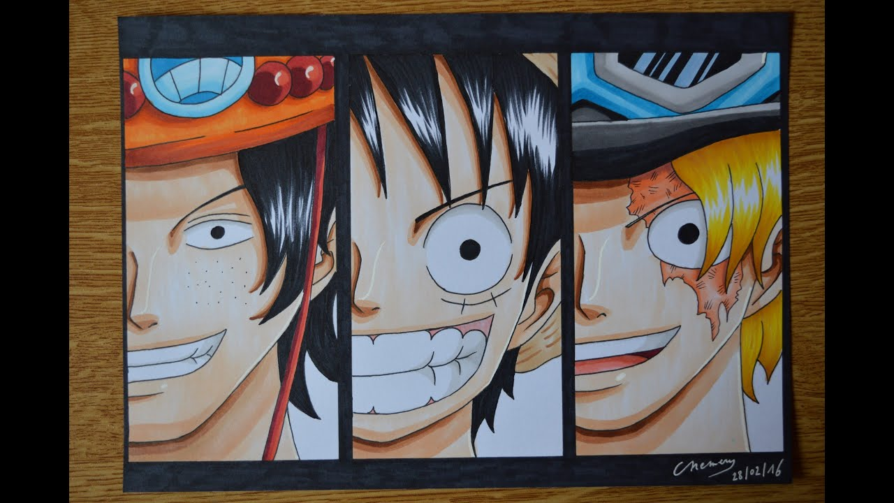 One Piece Luffy And Ace And Sabo Drawing