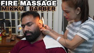 ASMR HEAD MASSAGE | CRACKINGS | 🔥 FIRE HAIR REMOVAL BY MIKKU BARBER
