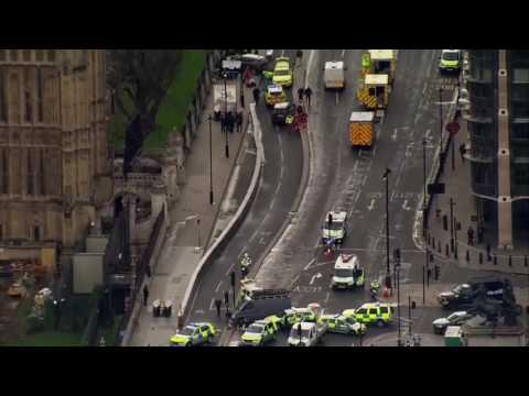 Aerial footage shows massive numbers of first responders outside UK parliament buildings