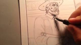 Inking Demo from The Silent Gun #western #cowboys #makecomics #artips #drawing