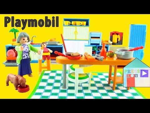 PLAYMOBIL Grand Kitchen unboxing to furnish Playmobil Large Grand Mansion.