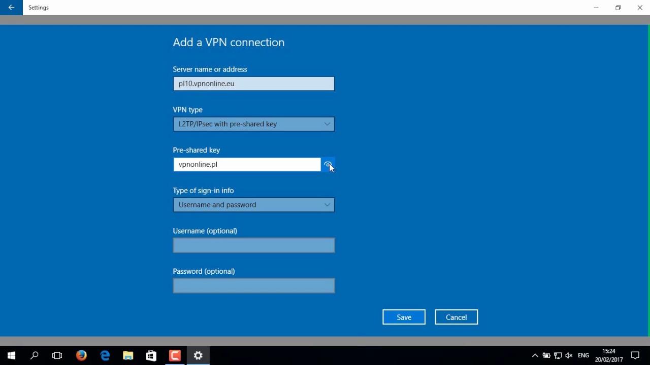Configuration L2TP/IPsec client - Windows 10 - VPNonline