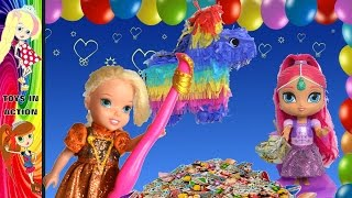 Anna and Elsa Toddlers Birthday Party Twins Shimmer and Shine Celebrate with Barbie Skipper Chelsea