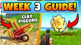 Fortnite WEEK 3 CHALLENGES GUIDE! – CLAY PIGEON Locations, Treasure MAP (Battle Royale Season 5)