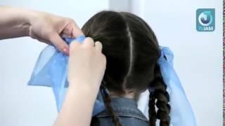 Мастер класс по детским прическам. Корзинка с лентами для длинных волос 1