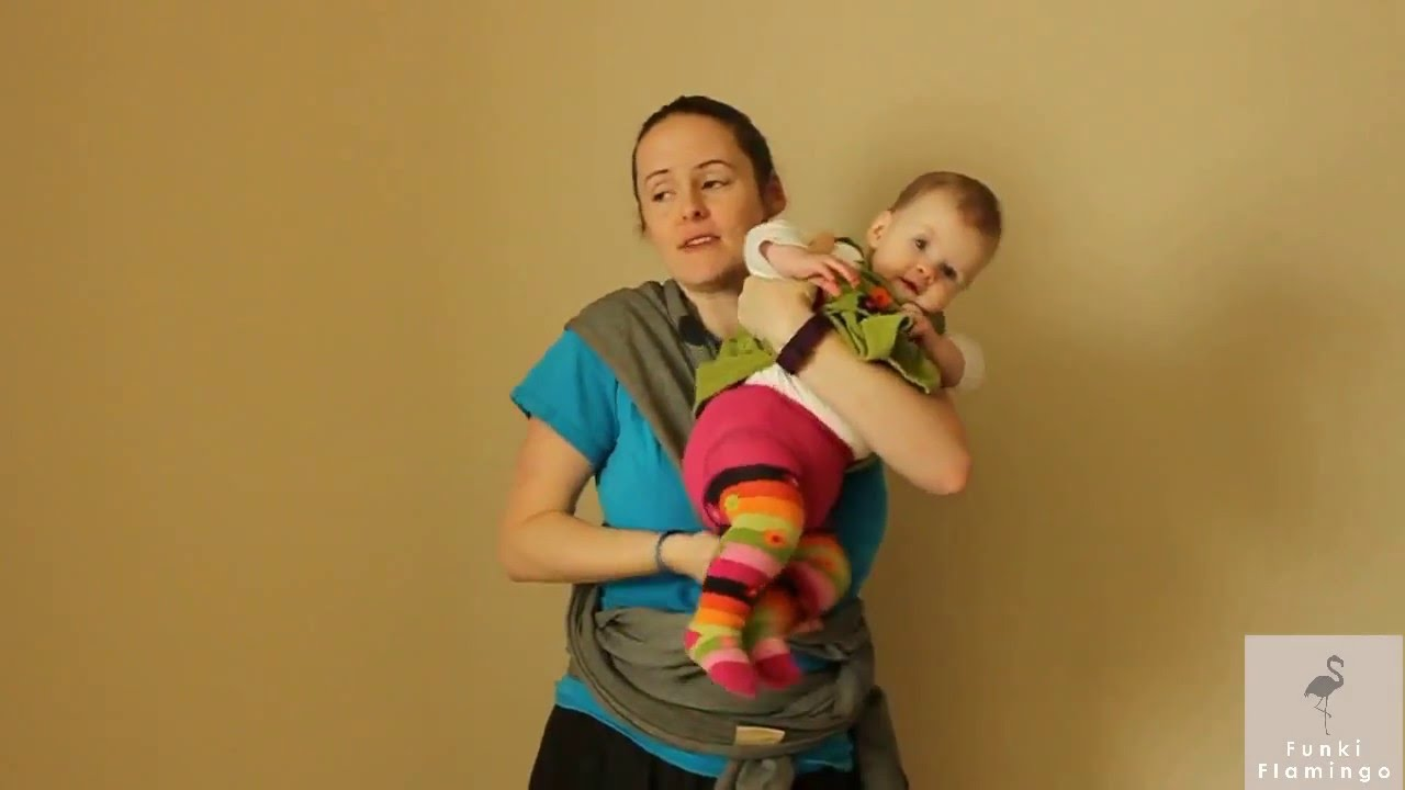Funki Flamingo Baby Wrap Video Tutorial Hug Hold Front Facing