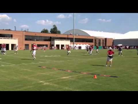 Tide defensive backs at practice with Saban