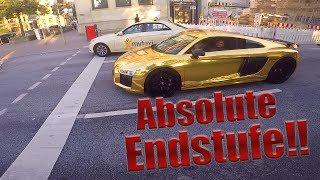 Goldener Audi R8! | Rennen, Sound, Fehlzündungen
