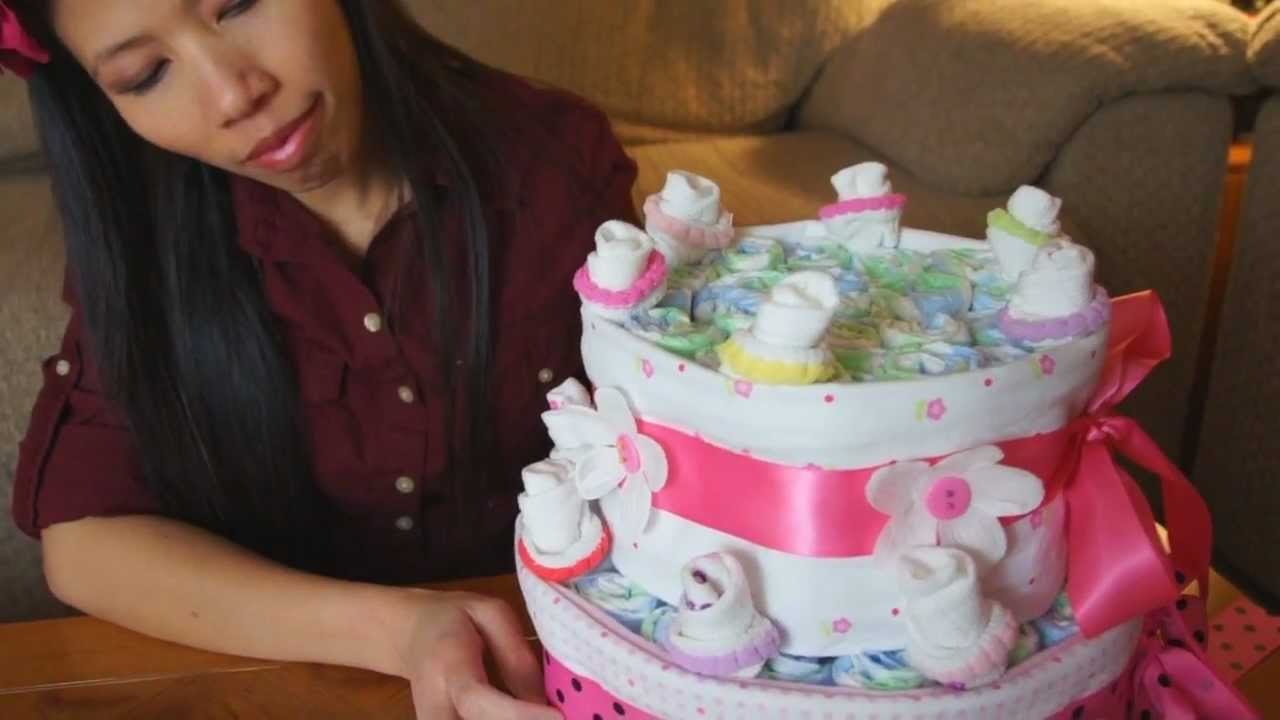 How To Make A Diaper Cake For Baby Girls - YouTube