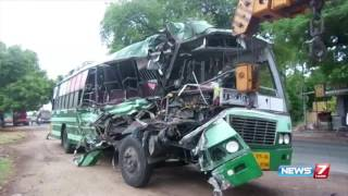 0ne dead, 14 injured in bus accident at Musiri near Trichy | News7 Tamil