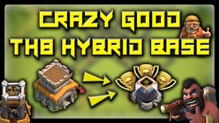 CRAZY GOOD TH8 HYBRID BASE! KEEP TROPHIES AND SAVE RESOURCES! - Clash Of Clans Base Build