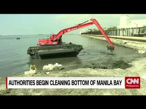 Authorities begin cleaning bottom of Manila bay