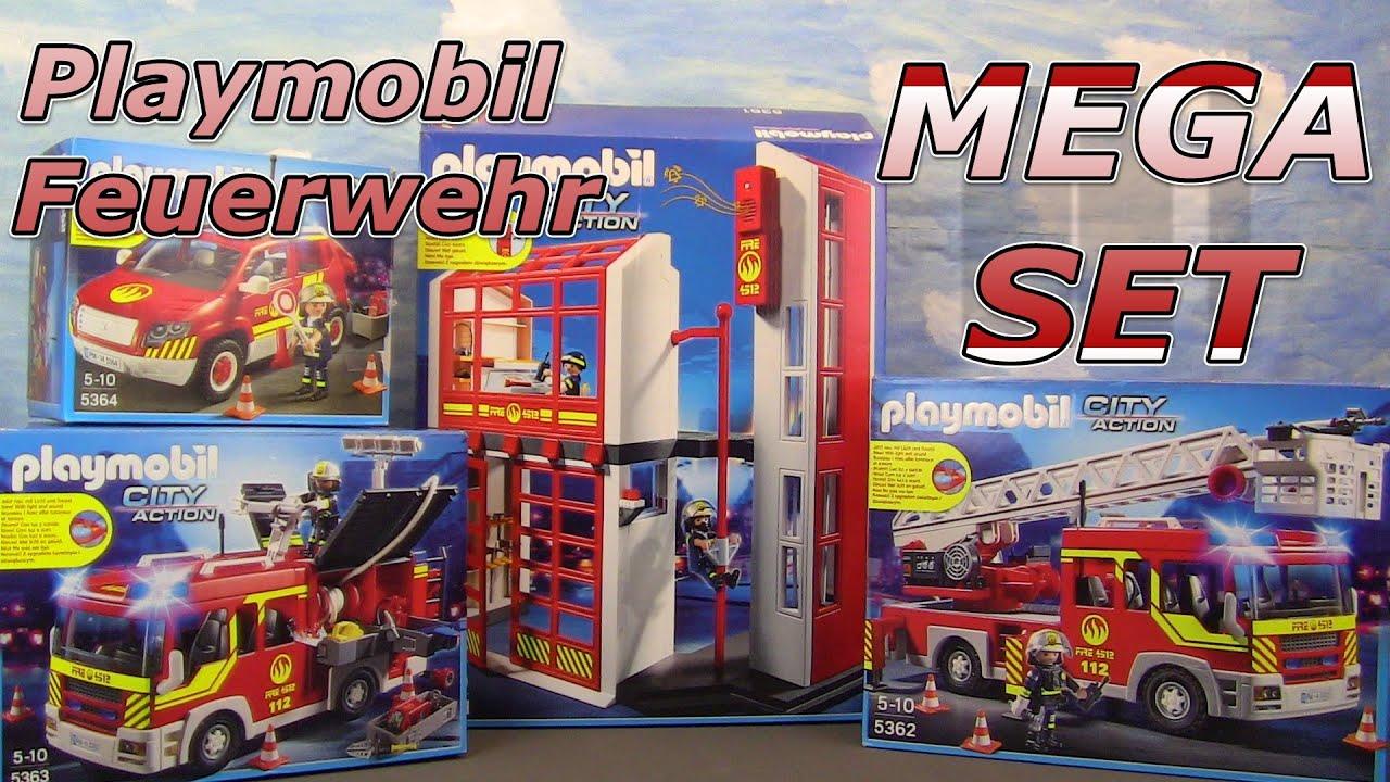 mega playmobil feuerwehr set unboxing leiterwagen
