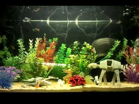 Starwars fishtank youtube for Star wars fish tank decorations