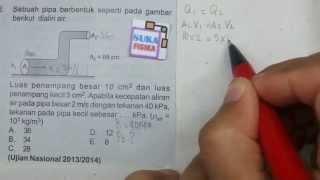 Fluida dinamis-soal persamaan bernoulli-fisika SMA