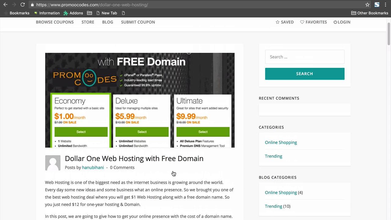 One Dollar Web Hosting Addy 1 2017