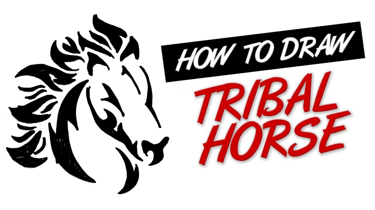How To Draw Tribal Tattoo Horse Design 5 Youtube