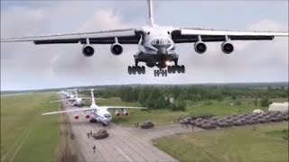 """Paratroopers Jumping From An Ilyushin Il-76, An-124 """"Ruslan"""", An-22, An-26 Plane."""