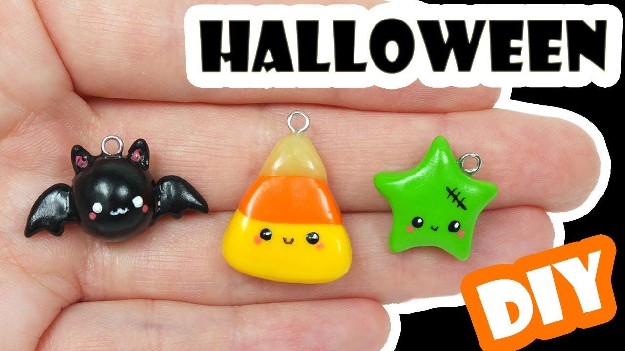 cute halloween charms   polymer clay tutorial    diy bat, candy corn