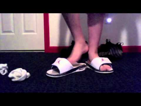 e1b6da37f Jordan retro 3 slides on feet - YouTube